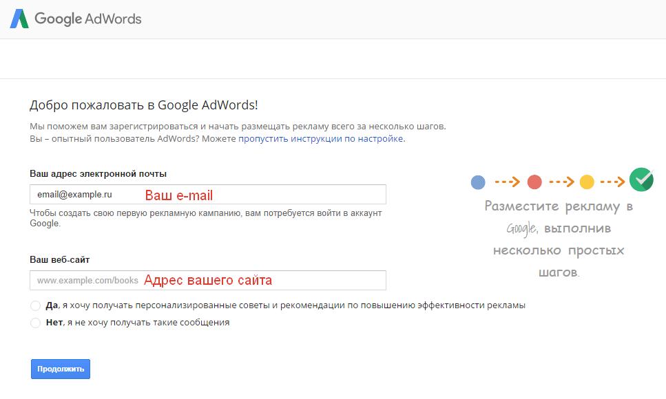 Регистрация AdWords